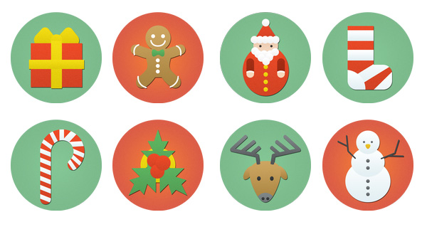 8-flat-colorful-christmas-icons-set