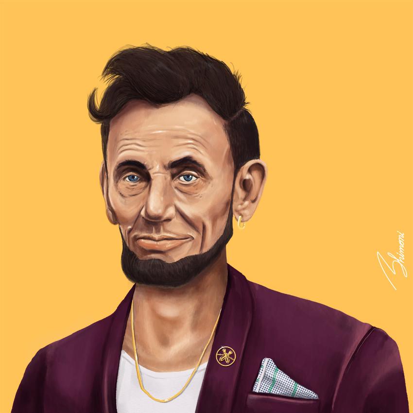 Шарж Абрахам Линкольн как хипстер