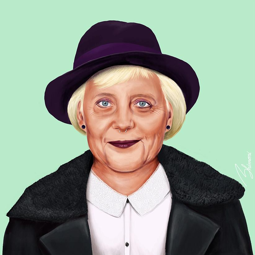 Шарж Ангела Меркель как хипстер