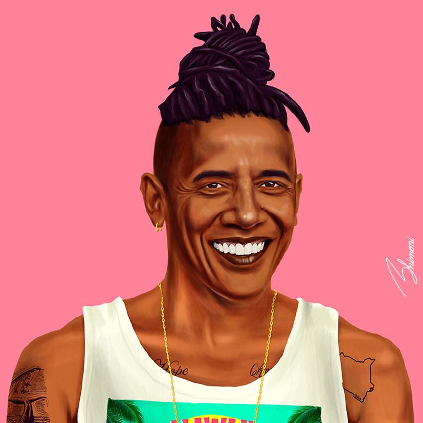 Шарж Барак Обама как хипстер