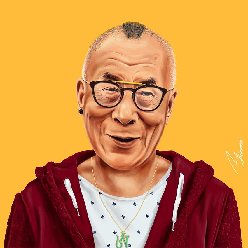 Далай Лама шарж как хипстер