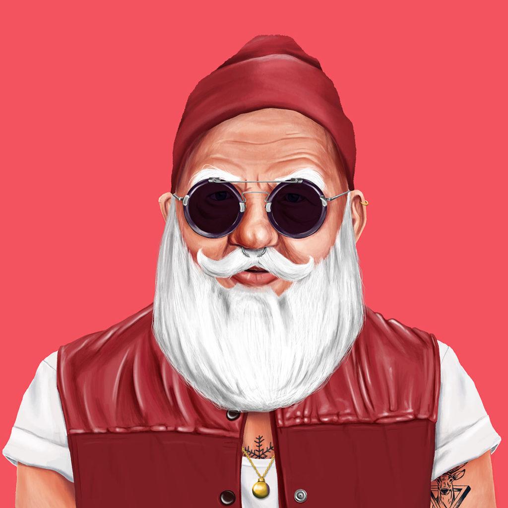 Шарж Дед Мороз как хипстер