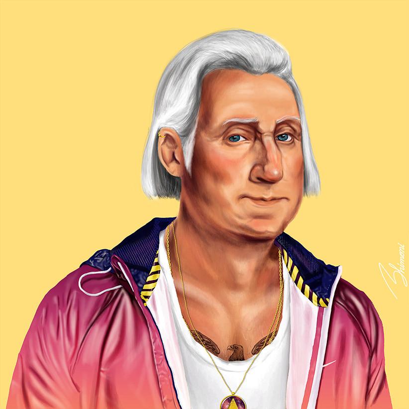Шарж Джордж Вашингтон как хипстер