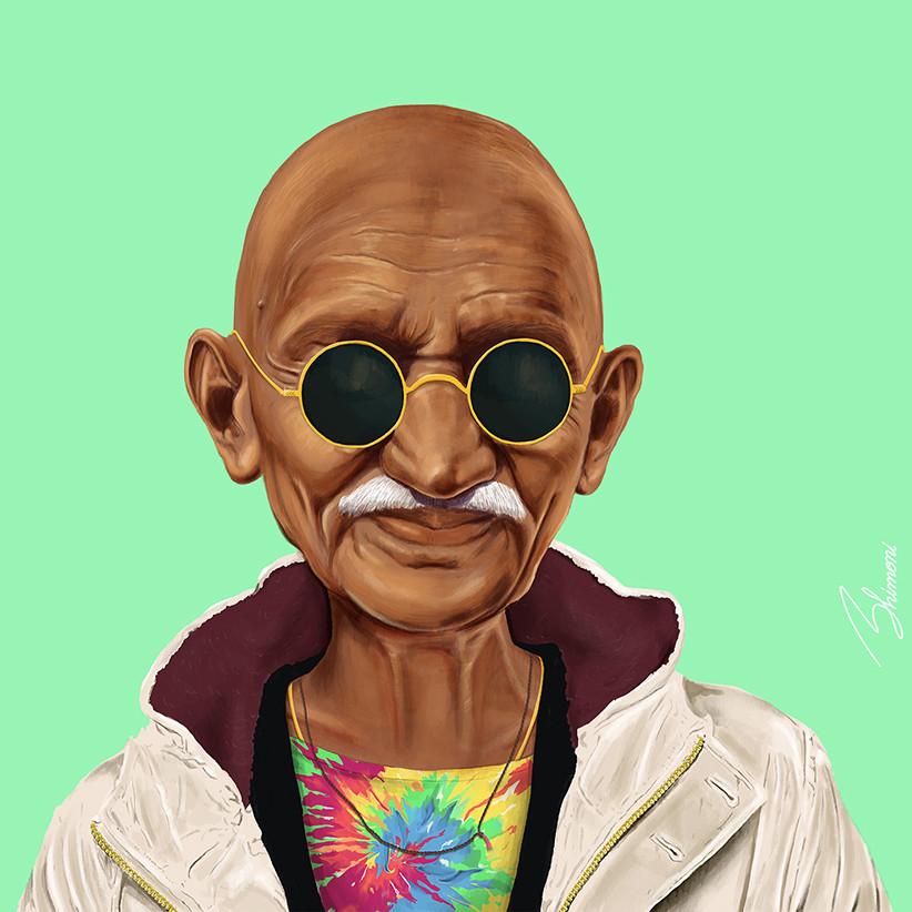 Махатма Ганди шарж как хипстер