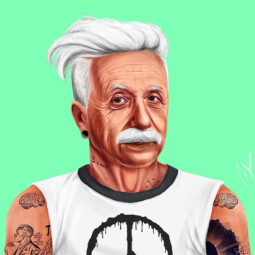 Шарж Альберт Эйнштейн как хипстер