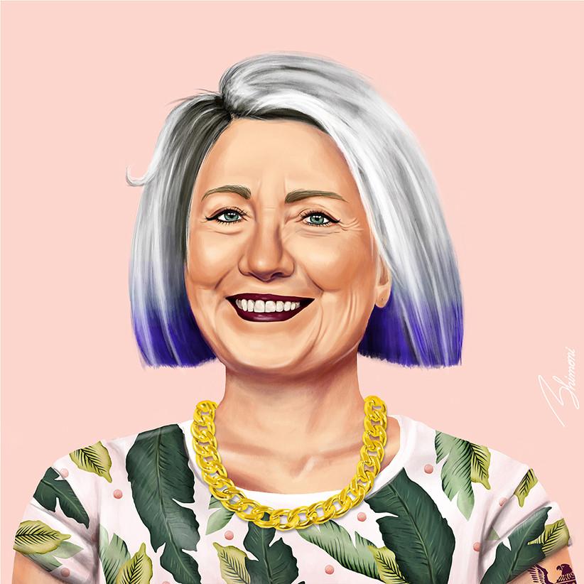 Хиллари Клинтон шарж как хипстер